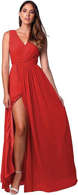 Pretty Red Chiffon Bridesmaid Dresses