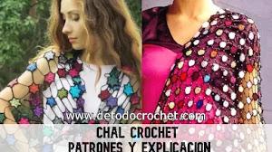 Chal crochet tejido con círculos y red a crochet