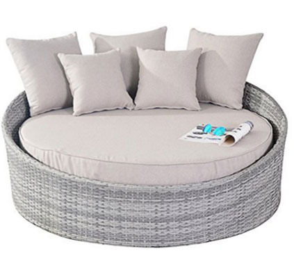 Port Royal Rustic Rattan Garden Furniture Daybed Sun Lounger - Natural, Round Outdoor Daybeds UK, Outdoor Daybeds UK, Daybeds UK, Outdoor Daybeds at Amazon.co.uk, Amazon.co.uk, Best Outdoor Daybeds, Outdoor Furniture, Quality Outdoor Daybeds,