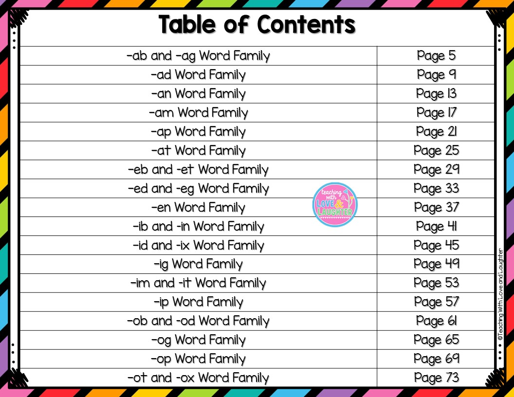 Cvc Word Family Mats A Great Independent Activity