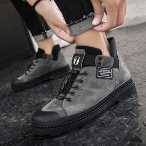 Winter Men's Waterproof Boots Warm PU Leather Shoes
