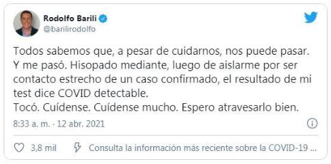 El periodista Rodolfo Barilli confirmó que tiene Coronavirus