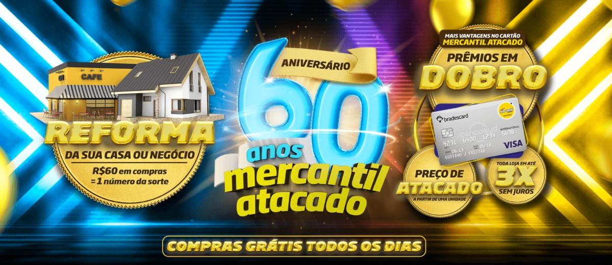 Promoção 60 Anos Mercantil Rodrigues Atacado Aniversário 2021 - Compras Grátis