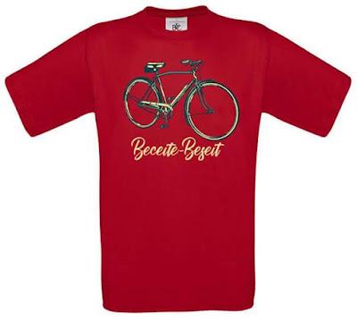 beceite , beseit, camiseta, manga corta,roja, bicicleta, festa casats, hombre