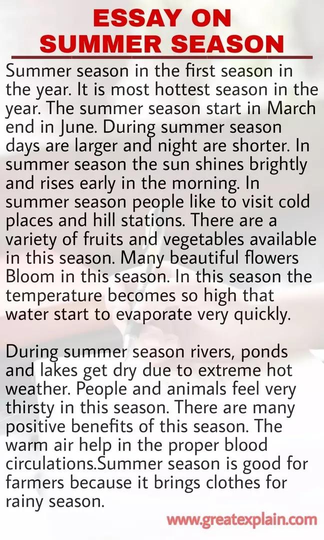 Short Essay on Summer Season