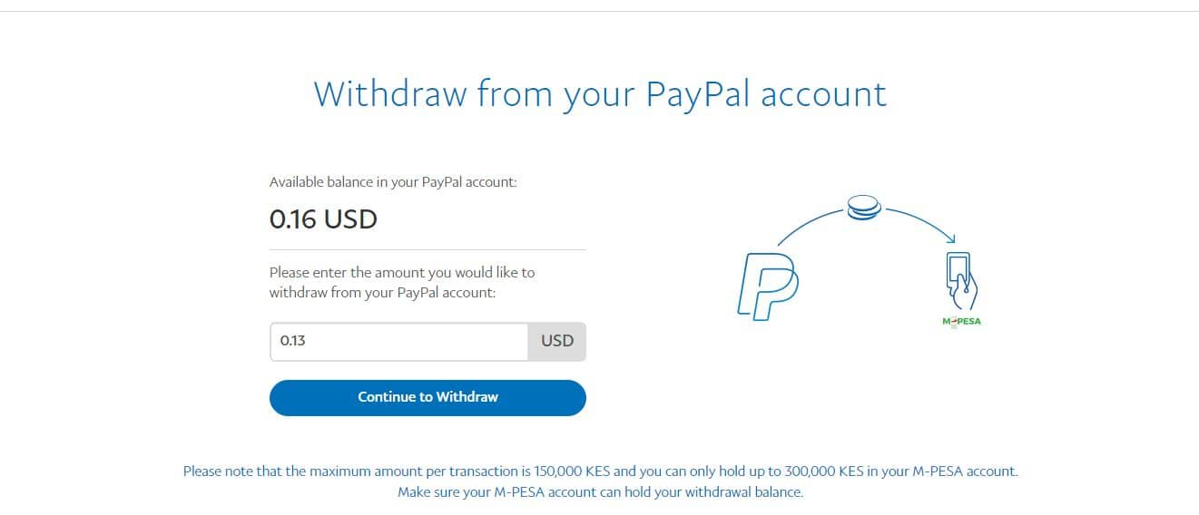 how to withdraw from paypal account to mpesa