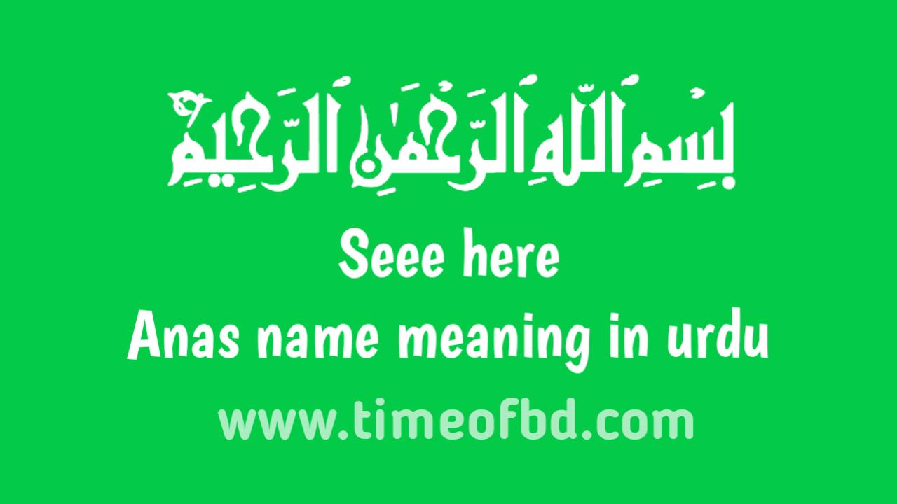 Anas name meaning in urdu, انس نام کا مطلب اردو میں ہے
