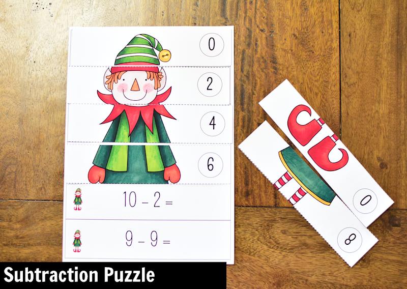 Kindergarten Math Center for December: Subtraction Puzzle