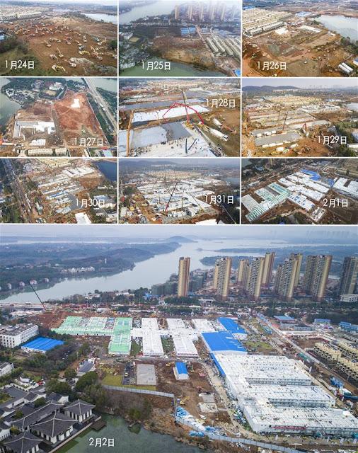 Hospital Huoshenshan - Fotos do passo a passo da construção