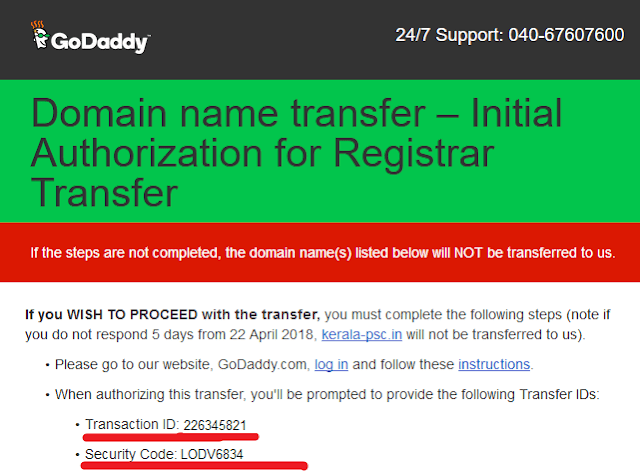 go daddy email transaction IDs