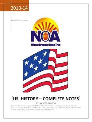 USA History CSS NOA NOTES free book pdf free download free pdf books