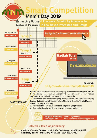 Lomba Artikel Ilmiah & Poster Smart MNM Day UI 2019 Untuk Mahasiswa