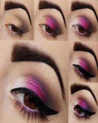 maquillaje de ojos lila con cola de gato