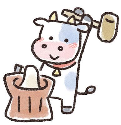 餅つきをする牛のイラスト(丑年)