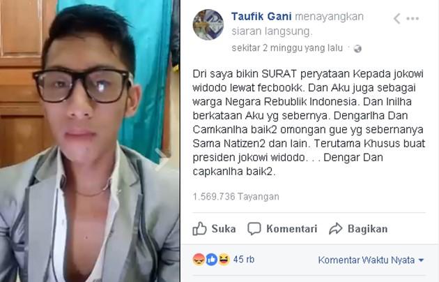 Taufik Gani Pria MAHO Penghina Presiden Jokowi-Facebook