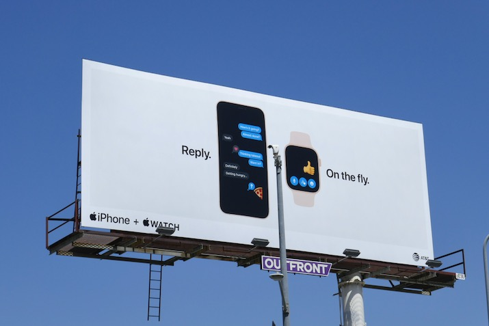 Apple iPhone Watch reply on fly billboard
