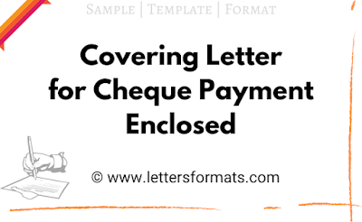 covering letter for cheque payment enclosed