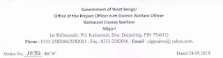 Application for the post of Contractual staff under BCW and TD Department Darjeeling