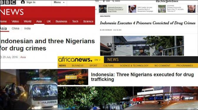 Pemberitaan media asing soal hukuman mati gembong narkoba