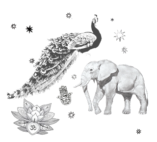 elephant and peacock