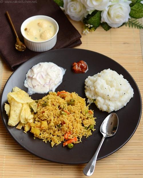Biryani, curd rice, rasmalai