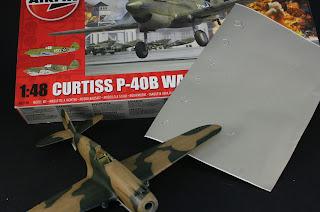 Pochoirs du Curtiss P-40B Warhawk d'Airfix au 1/48.