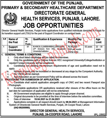 Latest Jobs in Primary And Secondary Health Care Department 2021 - Health Service Lahore