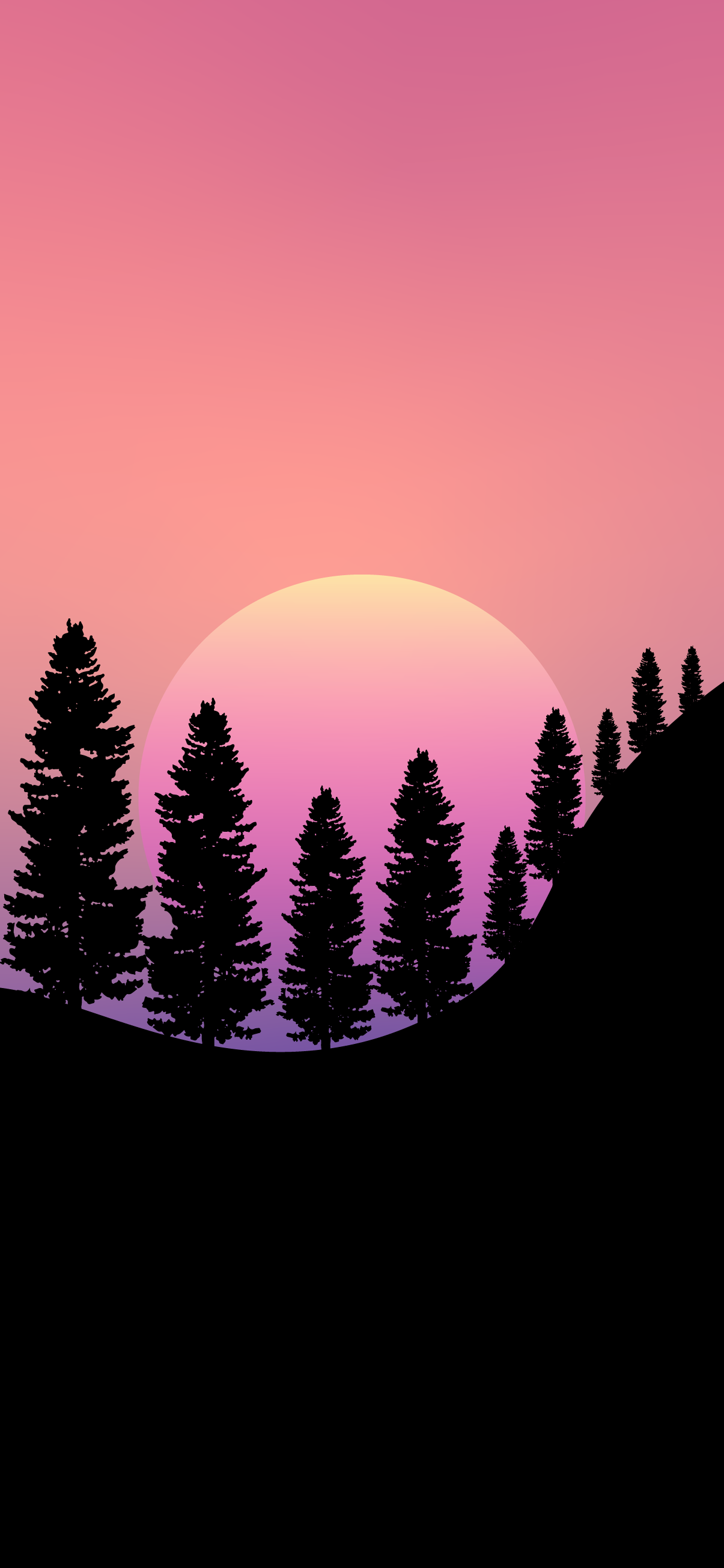 minimal forest tree landscape silhouette sunset wallpaper 4k