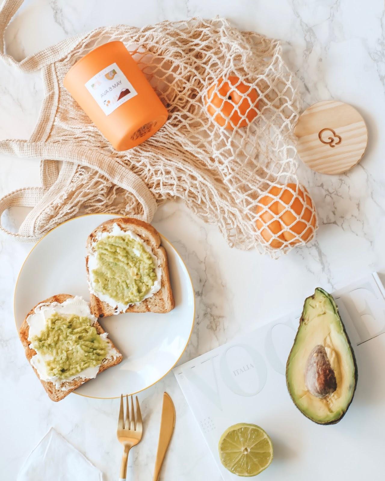 Avocado toast flatlay brunch