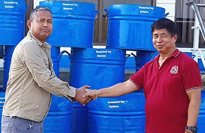 Solane Donates Trash Cans to Rosario LGU