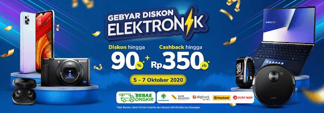 #Tokopedia - #Promo Gebyar Diskon Elektronik Dapatkan DIskon 90% & Cashback Hingga 350 Ribu (s.d 07 Oktober 2020)