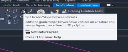 Set grade or slope between points in Autodesk Civil 3D