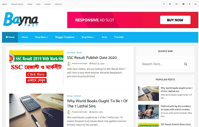 Bayna Fast - High Speed Optimized Blogger Template