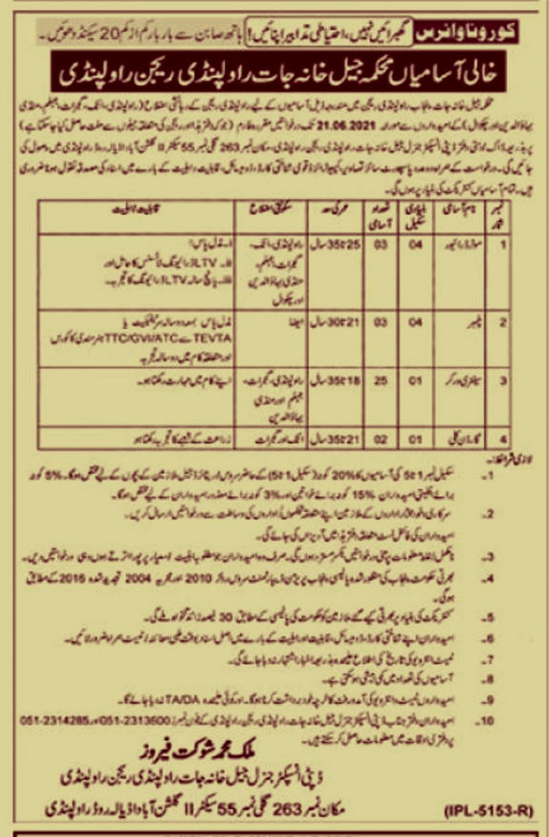 Punjab Prison Department Jobs || Jail Khana Jat Rawalpindi Region Jobs 2021