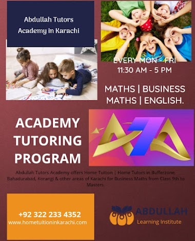 Abdullah Tutors Academy offering Home Tuition for Business Studies in Gulshan Town, Sindh Baloch Cooperative Housing Society, Karachi