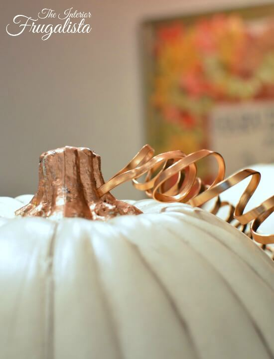 Pumpkin Topiary Attaching Copper Wire Tendrils