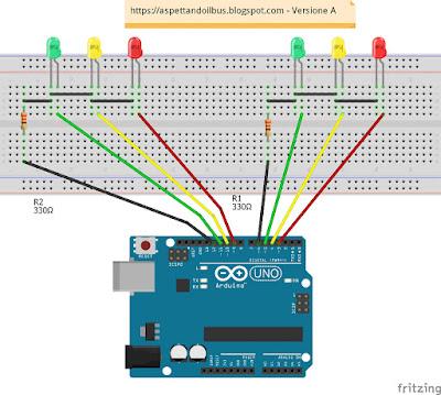 Fig. 3 - Semafori realizzati su Breadboard - Versione B di Paolo Luongo