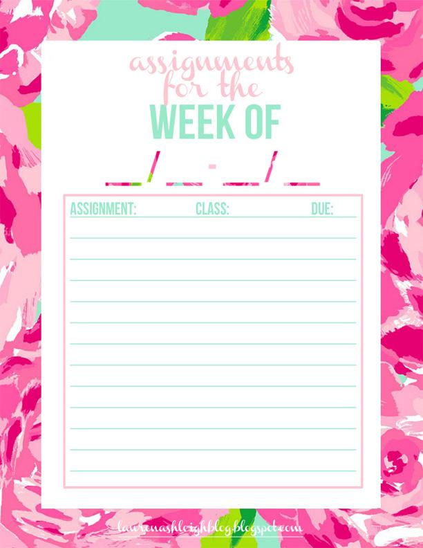 Homework Assignment Sheet Template For High School
