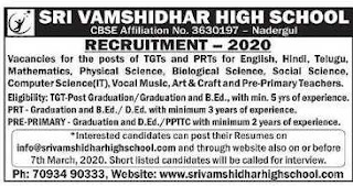 Sri Vamshidhar High School jobs