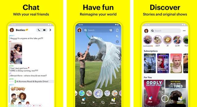 Snapchat - أفضل تطبيقات التواصل الاجتماعي للاندرويد