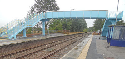 Brigg railway station footbridge with steps passengers need to use to get to platform two for trains to Sheffield