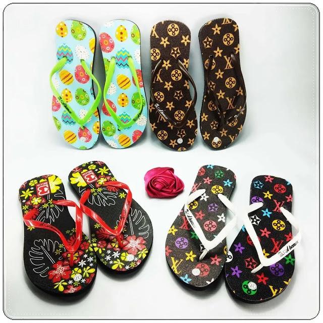 Sandal Kekinian Udah Hadir Lagi !!! Sandal Motif-Bunga Simplek