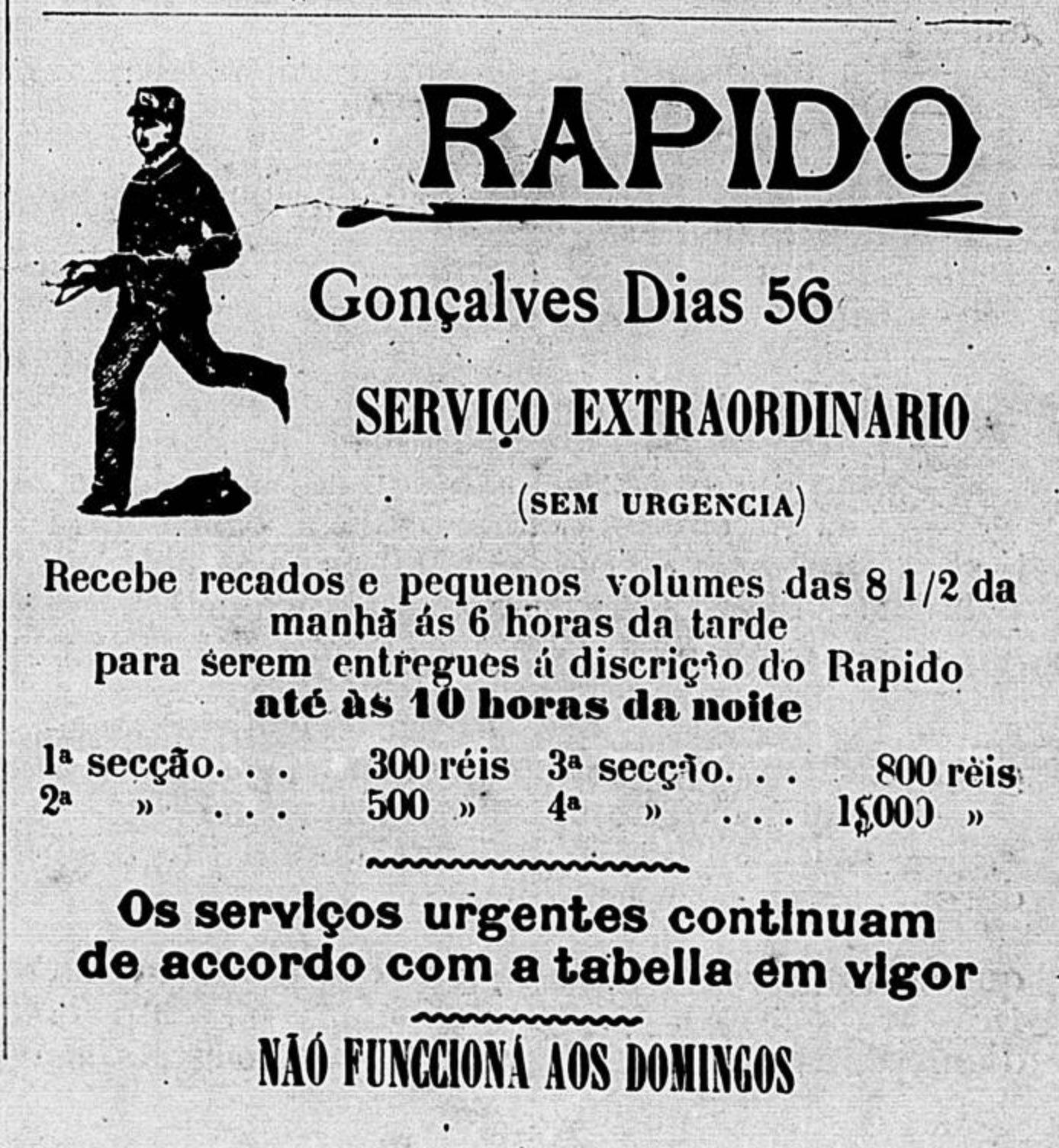 Anúncio veiculado em 1900 de serviços de recados e entregas