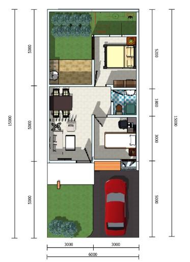 Denah rumah minimalis 3 kamar ukuran 5x12