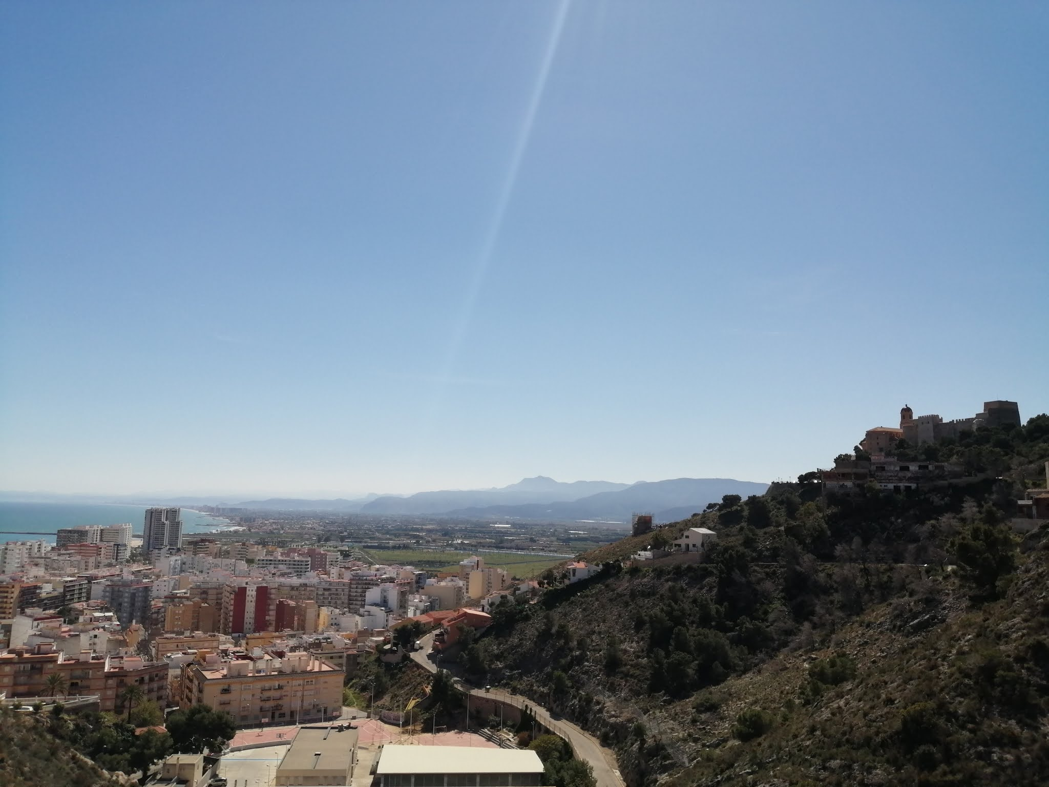 View of Cullera, its castle and the Gulf of Valencia to the south