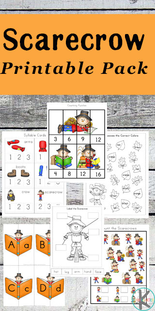 FREE Scarecrow Kindergarten Worksheets - includes skip counting, coloring, counting syllables, courning scarecrows, matching uppercase and lowercase letters, identifying, and so much more! (kindergarten, homeschool, fall worksheets)