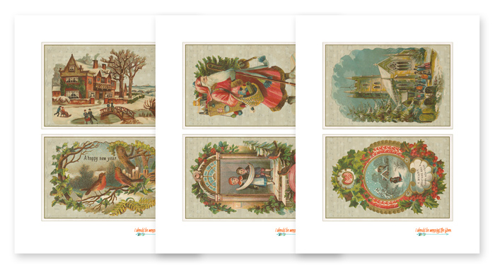 Six Printable Christmas Postcards