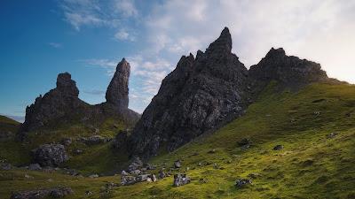 Landscape, mountains, rocks, grass, sky, clouds