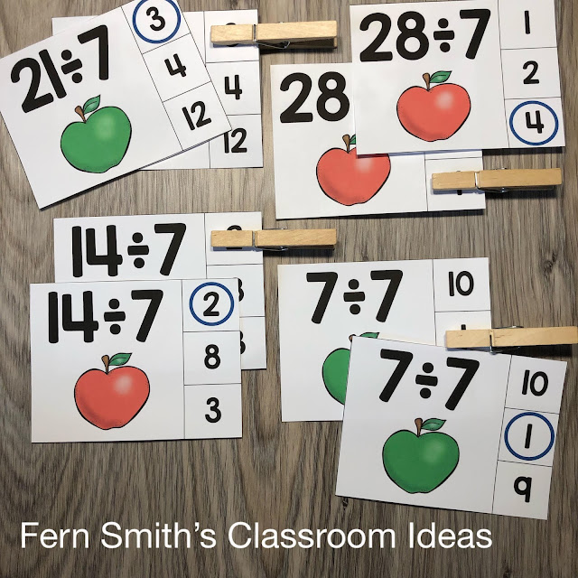 Click Here to Grab These Fall Apple Themed Division Clip Cards for Your Class Today!