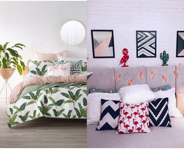 inspiração quarto com decoração de flamingo